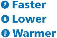 Faster - Lower - Warmer